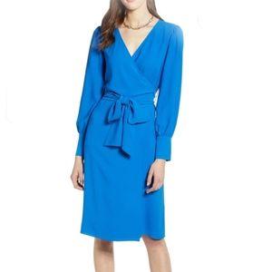 🎯 NWT Halogen Long Sleeve Wrap Midi Dress